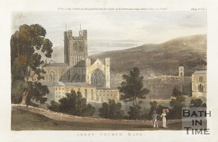 Engraving Abbey Church Bath December 1st 1810 coloured