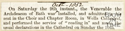 Arch-Deacon of Bath was installed 9th October 1832