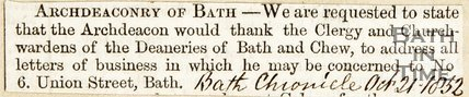 Arch-Deaconry of Bath statement. October 21st 1852