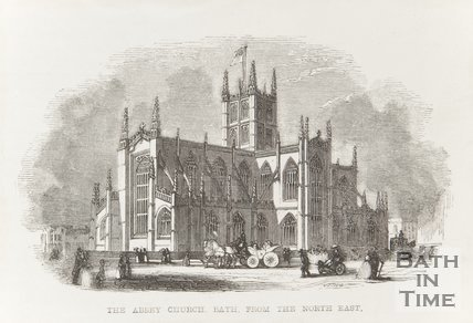 Engraving Abbey Church Bath from the North East 1845