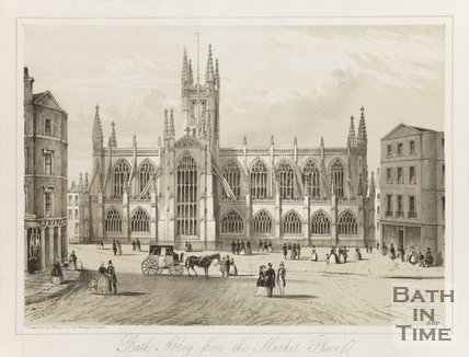 Engraving Bath Abbey from the Marketplace 1850