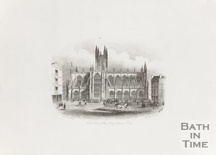 Engraving North View of the Abbey Church Bath 1855