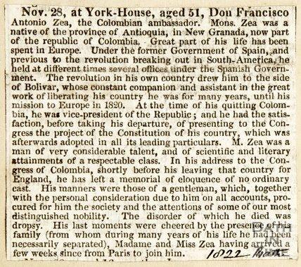 Obituary of Don Francisco Antonia Zea, Columbian Ambassador November 28th 1822