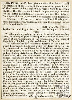 Mr Phinn MP given notice that he will call the attention of the House of Commons to the present state of the diocese of Bath and Wells July 7th 1853