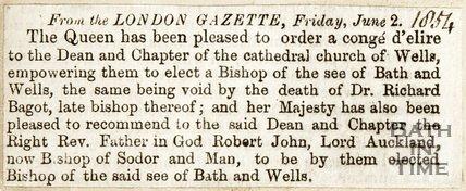 Queen issued a Conge d'Elire to Wells. June 2nd 1854