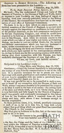 Letter to Bishop Spencer written from Taunton August 10th 1853
