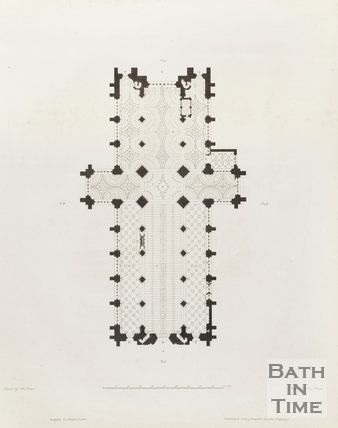 Engraving Architectural Plan Bath Abbey to scale
