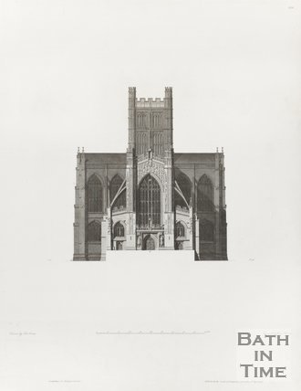 Engraving Bath Abbey West Elevation Architectural Plans