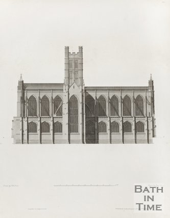 Engraving Bath Abbey North Elevation Architectural Plans 1798