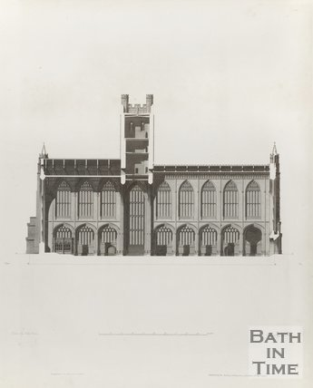 Engraving Bath Abbey North Elevation Abbey Interior Architectural Plans 1798