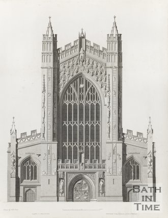 Engraving Bath Abbey West Elevation Architectural Plans 1798