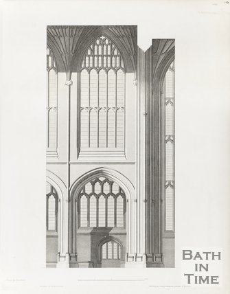 Engraving Bath Abbey South Interior Architectural Plans 1798