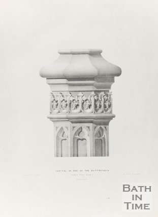 Capital of one of the buttresses half full size, Bath Abbey 1834