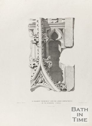 Fragment found, built into the lower compartment of the windows (three quarter scale), Bath Abbey 1834