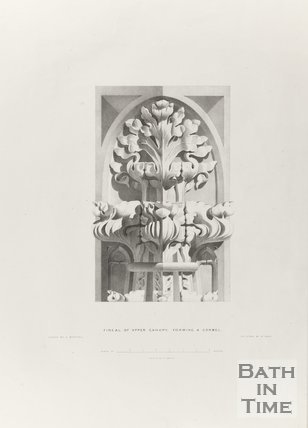 Finial of upper canopy forming a corball, Bath Abbey 1834