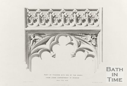 Part of Transom with one of the heads from lower compartments of windows (Half full size), Bath Abbey 1834
