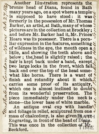 Information on and description of bronze head of Diana found in Bath, formerly in the possession of Mr Thomas Barker, October 27th 1849