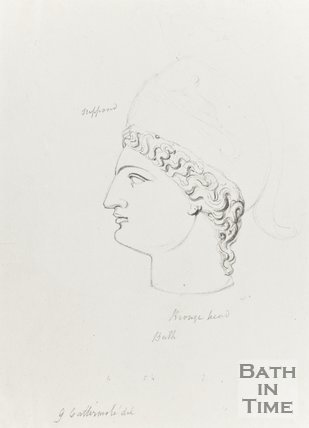 Pencil Sketch of Bronze Head from Bath