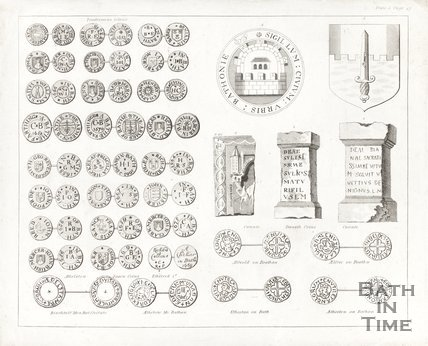 Pictures of Tradesmen tokens and Saxon coins and a shield c.1780