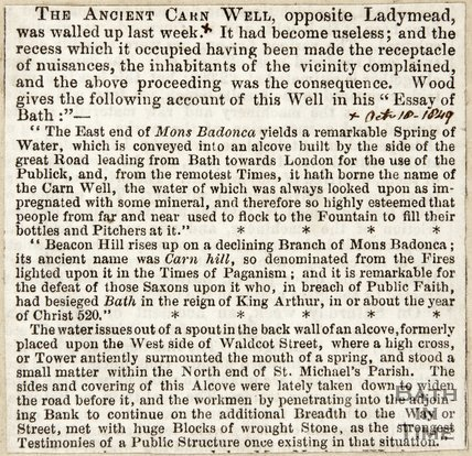 Ancient Carn well walled up October 18th 1849