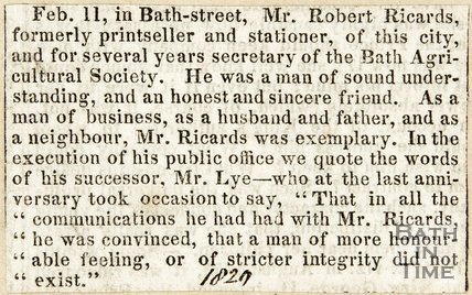 Obituary Mr Robert Ricards former Print seller & Stationer for several years the secretary of Bath Agricultural society February 11th 1829