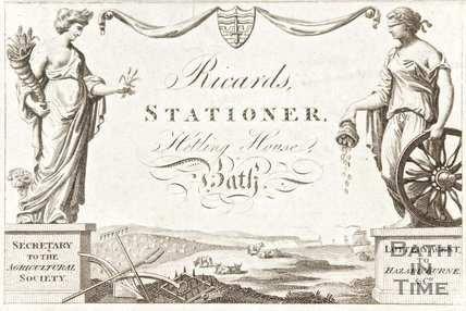 Trade advertisement for Ricards Stationer, Hetling House, Bath
