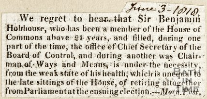Announcement of retirement of Sir. Benjamin Hobhouse from the House of Commons, June 3rd 1816