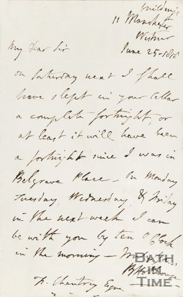 Letter from Hobhouse to T. Chantry Esq, June 25th 1815