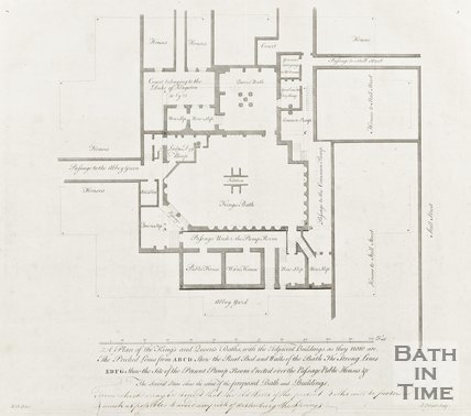 Plan of King and Queens Baths with Adjacent buildings as they are now c.1781