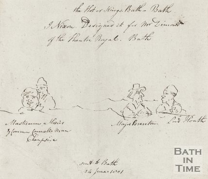 Pen Sketch of People in Hot or Kings Bath June 24th 1801
