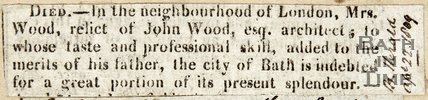 Announcing death of Mrs Wood, relic of John Wood Esq, 1809