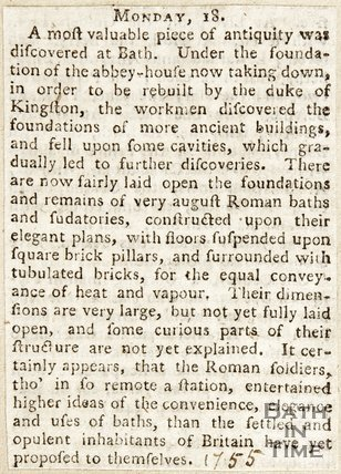 Discovery of the Roman Baths, Monday 18th Sept or Dec, 1755