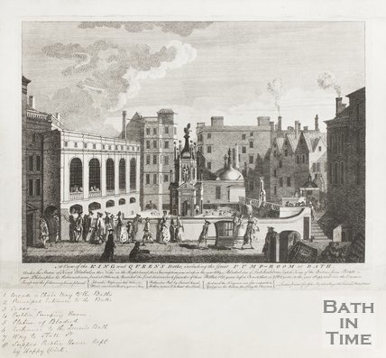 Engraving View of the Kings and Queens Baths including the Great Pump Room at Bath 1764