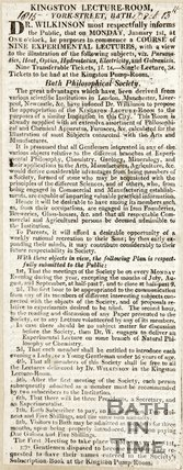 Announcing Dr Wilkinson's Course of Nine Experimental Scientific Lectures December 11th 1815