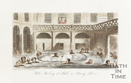 Engraving Public Bathing in Bath Or Stewing Alive, August 1st 1825.