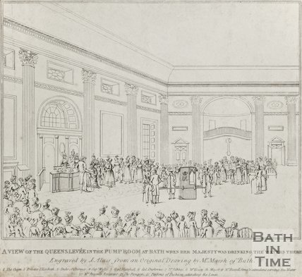 A view of the Queens Levy in the Pump-Room at Bath, when her majesty was drinking the waters there, 1817