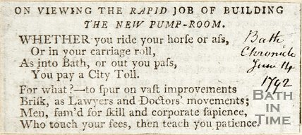 On viewing the rapid job of building the new Pump Room. June 14th 1792