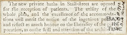 Opening of the New Private Baths in Stall Street December 8th 1792