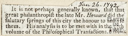 Great Philanthropist Mr Howard Analysed The Springs of the City, January 26th 1792