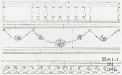 Drawing from the Baths and Minerals Waters of Bath, June 1857Details of Balustrade and stonework swags from the Hot Bath.