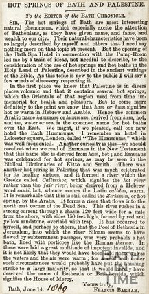 Letter to the Editor re. Hot Springs of Bath and Palestine, June 14th 1869