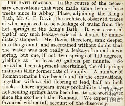 The Rediscovery of the Roman Great Bath, March 1st 1871