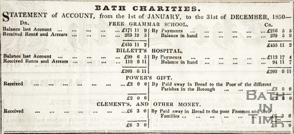 Statement of Accounts from the 1st of January to the 31st of December 1850 for Bath Charities