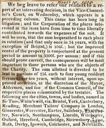 Report of Interesting decision made in the Vice-Chancellors Court November 18th 1818