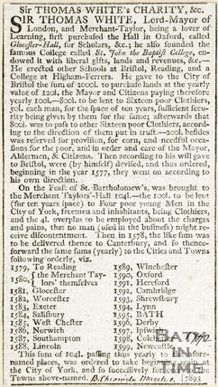 Sir Thomas Whites Charity &c. March 1st 1792