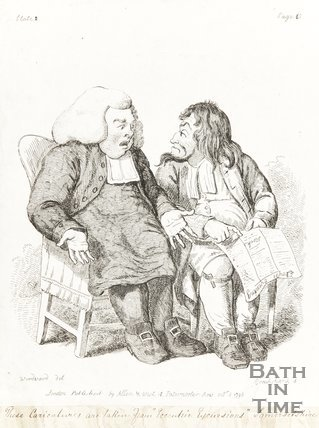 Caricature Two Men discussing Newspaper