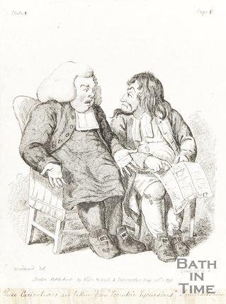 Caricature Two Men discussing Newspaper