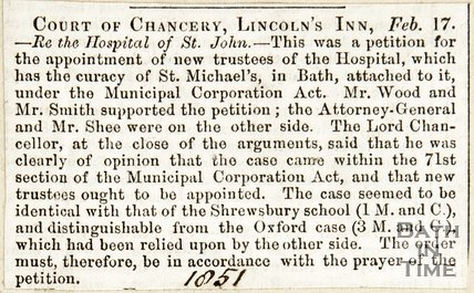 Court of Chancery Lincolns Inn, Re. The Hospital of St. Johns February 17th 1851