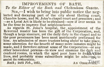 Letter to the Editor, Improvements of Bath Re St. Johns Hospital, Hetling House, Chandos House February 24th 1851