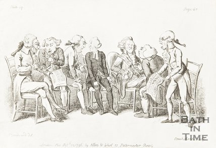 Caricature of a group of men arguing about the newspaper